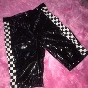 dolls kill biker checkered shorts